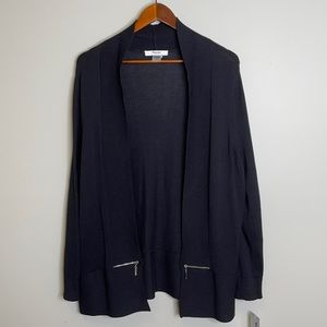 NWT TanJay black cotton bl long open cardigan 1X